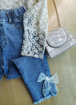 Набор для девочки, набір нарядний, блуза мереживна, джинси з бантом