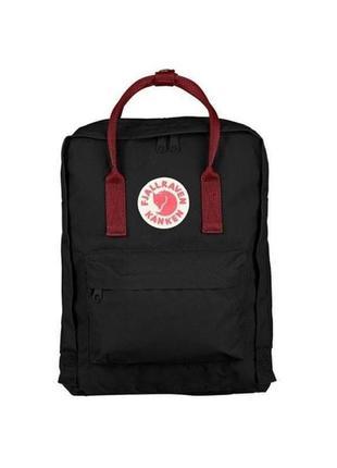 Водонепроницаемый рюкзак fjallraven kanken 16л портфель черный с красными ручками канкен школьный
