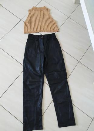 Шкіряні трендові штани висока посадка осінь зима