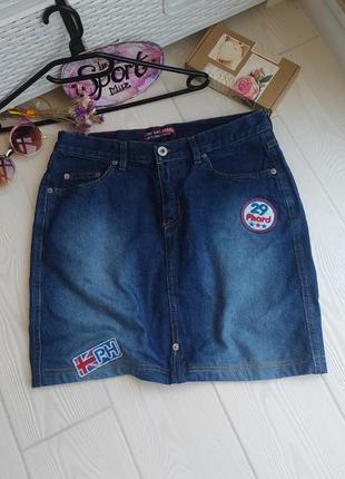 Юбка джинс высокая посадка