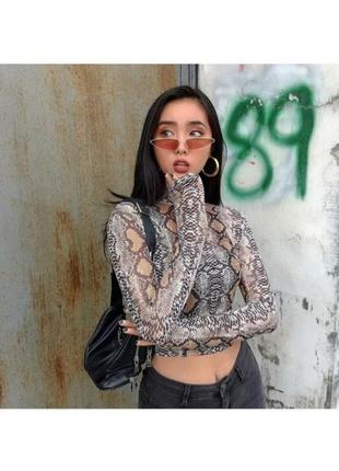 🔗прозрачная змеиная  блуза мештоп блуза-сетка сетчатая блуза в змеиный принт