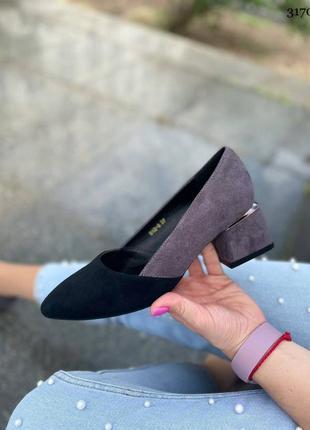 Туфли женские на каблуке серые черные