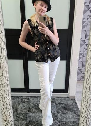 Крутые брендовые стильные летние белые джинсы бренд деним