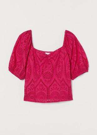 Шикарная крутая блуза блузка прошва шитье вышитая выбитая решелье бафы фуксия малиновая h&m