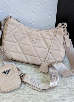 Жіноча брендова сумочка 2 в 1 крос боді в кольорах беж