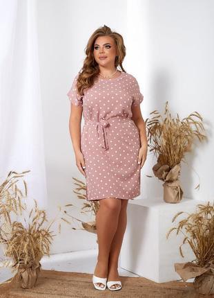 Платье женское летнее батал короткое мини легкое цветочное розовое