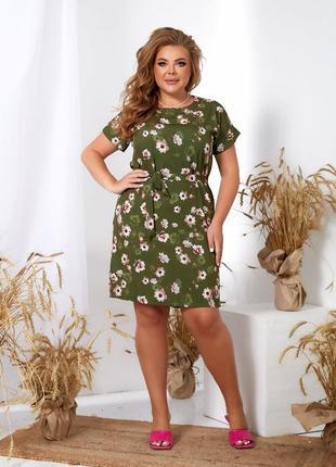 Платье женское летнее батал короткое мини легкое цветочное зеленое