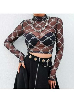 🔗черная прозрачная блуза с цепями мештоп блуза-сетка сетчатая блуза с цепями