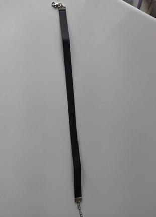 Черный кожаный чокер кожзам / кожаный тонкий чокер чёрный