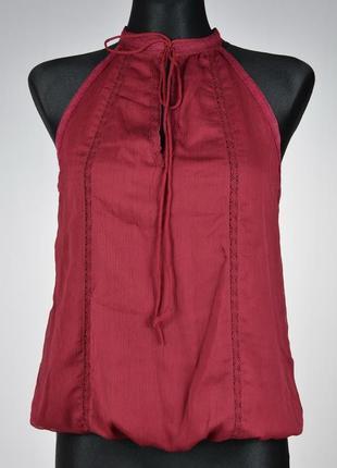 Шифонова блуза без рукавів з мереживом stradivarius