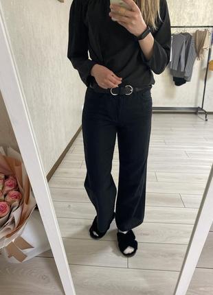 Чорні широкі джинси кльош палацо, черние джинсы клеш палаццо