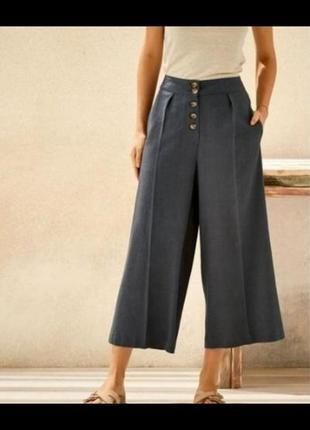 Стильные широкие брюки из смесового льна