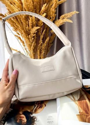Молочная сумка через плечо сумочка клатч кроссбоди текстильная