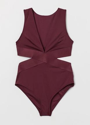 Супер стильный крутой купальник бордового цвета с широкими резинками р.12/40...❤️💋💄