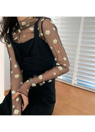 🔗базовая футболка мештоп прозрачный топ прозрачная блуза сетка в ромашковый принт