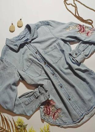 Рубашка джинсовая next  размер m-l