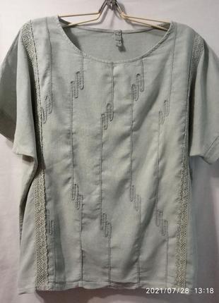 Стильная льняная блузка большого размера.