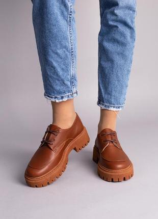 Туфли женские кожаные рыжие на шнуровке