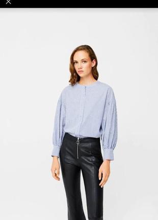 Манго mango рубашка с воланами в полоску