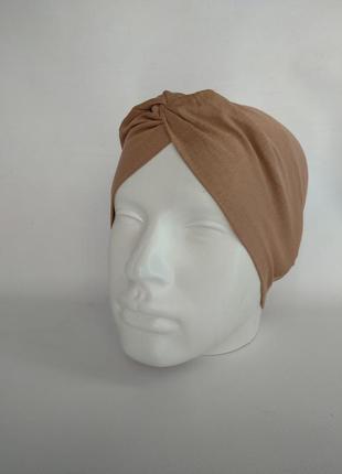 Повязка чалма на голову широкая цвет капучино на ог 54-56 см