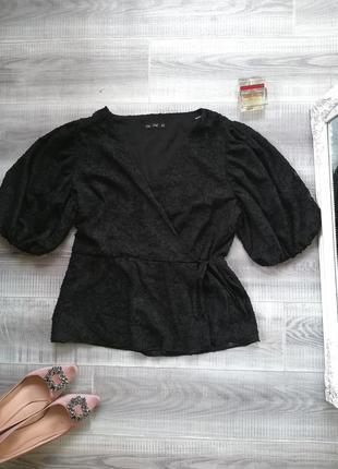 Шикарная нарядная вечерняя блуза на запах блузка пышный объёмный рукав