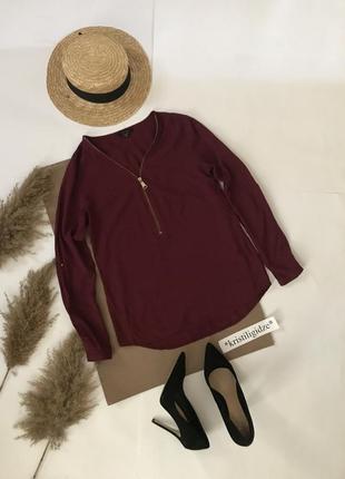 Бордовая стильная блуза блузка на молнии р.xs. распродажа