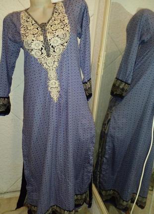 Длинное домашнее  платье вышивка