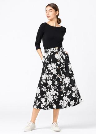 Юбка миди | юбка хлопок | юбка батал | цветочная юбка миди | черная юбка | белая юбка | юбка с рюшей