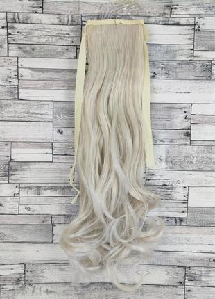 1471 накладной хвост волнистый блонд №60 на ленте шиньон термо искусственный