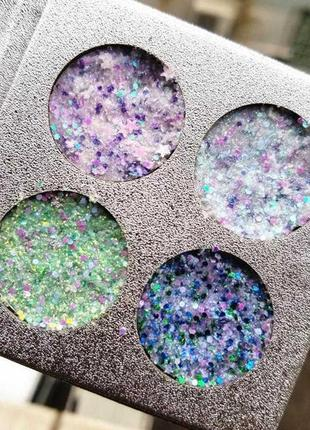 💫💙палетка теней глиттеров beauty glazed pressed glitter eye shadow (4 color)