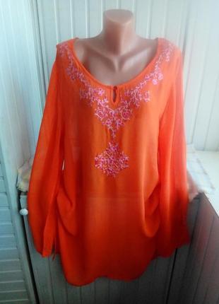Красивая вискозная блуза туника платье большого размера батал с вышивкой