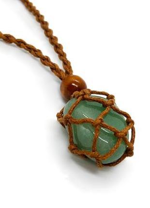 💎✨ плетеный кулон на коричневом шнурке в стиле макраме натуральный камень нефрит