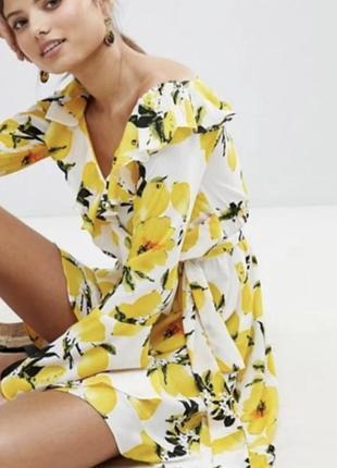 Платье на запах лимоны zara asos