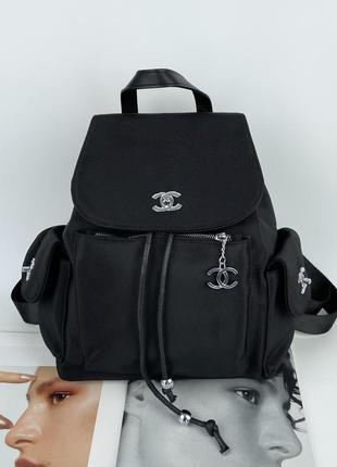 Женский городской рюкзак из плащевки жіночий міський чёрный чорний