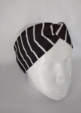 Взрослая повязка на голову чалма черная в полоску на ог 59-60