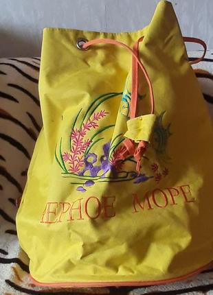 Тканевый пляжный рюкзак-мешок