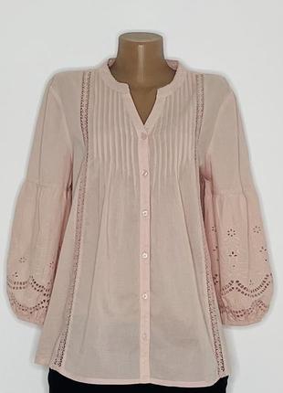 Блуза рубашка прошва кружево однотонная этно бохо складки защипы m&co