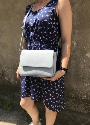 Голубая сумочка женская кроссбоди натуральная кожа genuine leather италия через плечо на длинном ремешке серая светлая небесного цвета