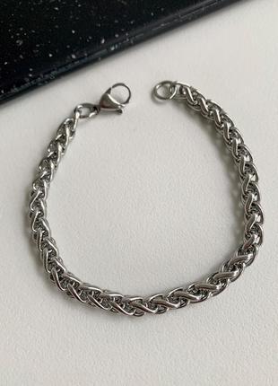 Мужской браслет стальной колос, красивый браслет из нержавеющей стали цвет серебро