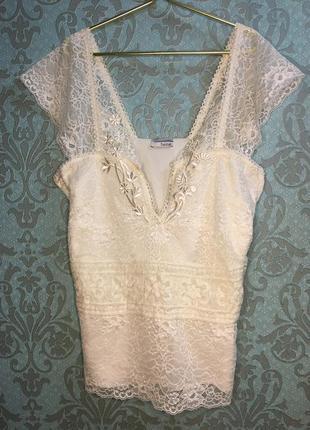 Ажурная белоснежная блуза heine
