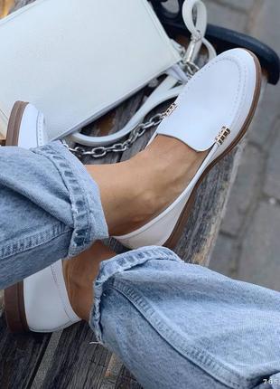 Туфли балетки лоферы натуральная кожа белые женские3 фото