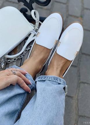 Туфли балетки лоферы натуральная кожа белые женские7 фото