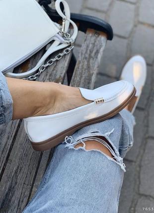 Туфли балетки лоферы натуральная кожа белые женские5 фото