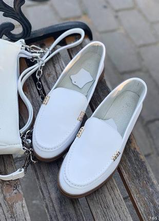 Туфли балетки лоферы натуральная кожа белые женские2 фото