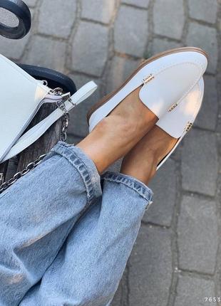 Туфли балетки лоферы натуральная кожа белые женские6 фото