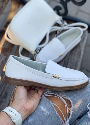 Туфли балетки лоферы натуральная кожа белые женские10 фото
