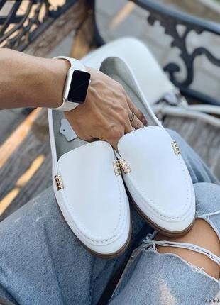Туфли балетки лоферы натуральная кожа белые женские9 фото