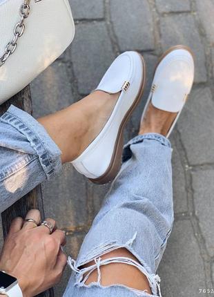 Туфли балетки лоферы натуральная кожа белые женские4 фото