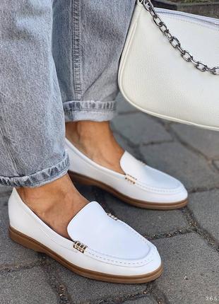 Туфли балетки лоферы натуральная кожа белые женские