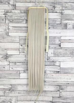 1574 накладной хвост прямой блонд №60 на ленте шиньон термо искусственный прямой